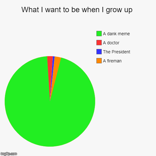 What I want to be when I grow up | A fireman, The President, A doctor, A dank meme | image tagged in funny,pie charts | made w/ Imgflip pie chart maker