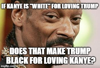 "Snoop Dogg Approves | IF KANYE IS ""WHITE"" FOR LOVING TRUMP DOES THAT MAKE TRUMP BLACK FOR LOVING KANYE? 