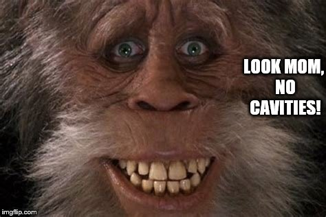 Harry Sasquatch Has No Cavities!  | LOOK MOM, NO CAVITIES! | image tagged in sasquatch,harry  the hendersons,big foot,no cavities,memes,funny memes | made w/ Imgflip meme maker