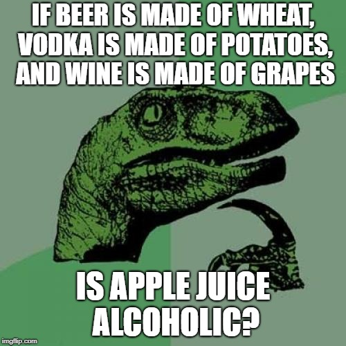 Can I Get Drunk on Apples? | IF BEER IS MADE OF WHEAT, VODKA IS MADE OF POTATOES, AND WINE IS MADE OF GRAPES IS APPLE JUICE ALCOHOLIC? | image tagged in memes,philosoraptor | made w/ Imgflip meme maker