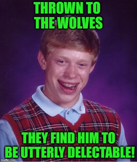 Bad Luck Brian Meme | THROWN TO THE WOLVES THEY FIND HIM TO BE UTTERLY DELECTABLE! | image tagged in memes,bad luck brian | made w/ Imgflip meme maker