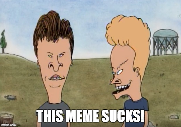Beavis and Butthead Commenting on this Meme | THIS MEME SUCKS! | image tagged in beavis and butthead | made w/ Imgflip meme maker