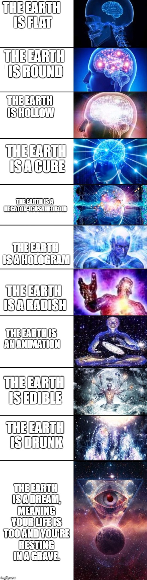 Extended Expanding Brain | THE EARTH IS FLAT THE EARTH IS A CUBE THE EARTH IS ROUND THE EARTH IS HOLLOW THE EARTH IS A HECATON-ICOSAHEDROID THE EARTH IS A HOLOGRAM THE | image tagged in extended expanding brain | made w/ Imgflip meme maker