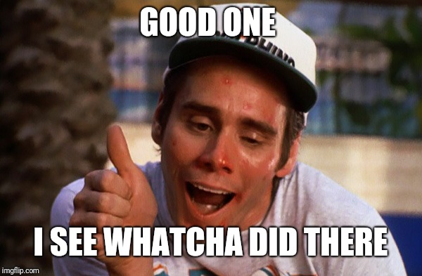 Ace Ventura - Thumbs Up | GOOD ONE I SEE WHATCHA DID THERE | image tagged in ace ventura - thumbs up | made w/ Imgflip meme maker