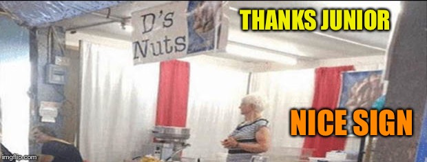 You're gonna love D's nuts. | THANKS JUNIOR NICE SIGN | image tagged in funny signs,deez nuts,memes,funny | made w/ Imgflip meme maker