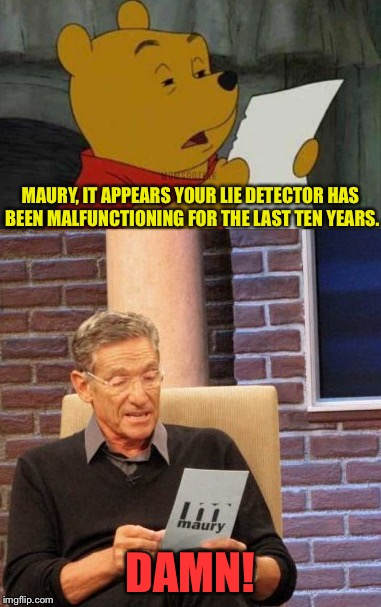 You got some explaining to do. | MAURY, IT APPEARS YOUR LIE DETECTOR HAS BEEN MALFUNCTIONING FOR THE LAST TEN YEARS. DAMN! | image tagged in maury lie detector,winnie the pooh,memes,funny | made w/ Imgflip meme maker