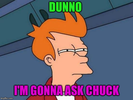 Futurama Fry Meme | DUNNO I'M GONNA ASK CHUCK | image tagged in memes,futurama fry | made w/ Imgflip meme maker