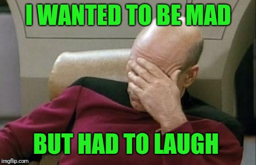 Captain Picard Facepalm Meme | I WANTED TO BE MAD BUT HAD TO LAUGH | image tagged in memes,captain picard facepalm | made w/ Imgflip meme maker