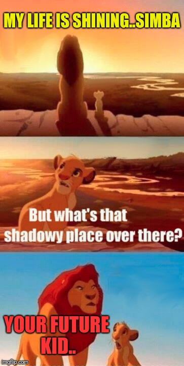 Simba Shadowy Place Meme | MY LIFE IS SHINING..SIMBA YOUR FUTURE KID.. | image tagged in memes,simba shadowy place | made w/ Imgflip meme maker