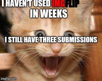 Excited Cat Meme | I HAVEN'T USED IMG FLIP IN WEEKS I STILL HAVE THREE SUBMISSIONS | image tagged in memes,excited cat | made w/ Imgflip meme maker