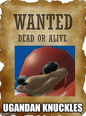 Actually you will find it dead |  UGANDAN KNUCKLES | image tagged in wanted dead or alive,dead memes,dead meme,uganda knuckles,ugandan knuckles,uganda | made w/ Imgflip meme maker