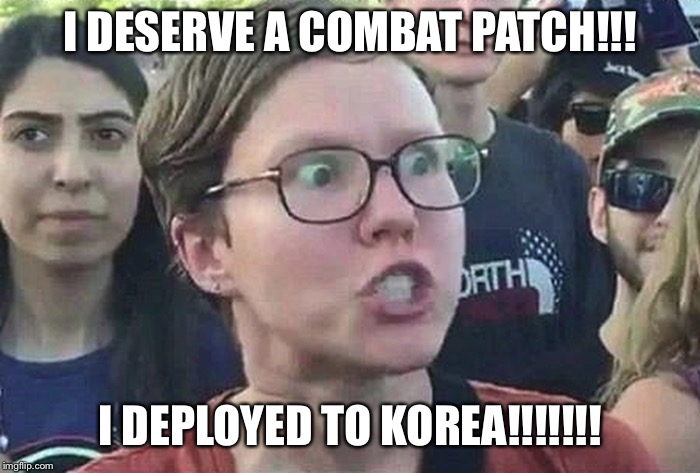 Triggered Liberal | I DESERVE A COMBAT PATCH!!! I DEPLOYED TO KOREA!!!!!!! | image tagged in triggered liberal | made w/ Imgflip meme maker