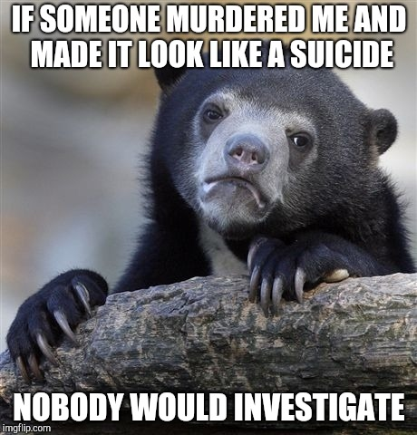 Confession Bear Meme | IF SOMEONE MURDERED ME AND MADE IT LOOK LIKE A SUICIDE NOBODY WOULD INVESTIGATE | image tagged in memes,confession bear | made w/ Imgflip meme maker