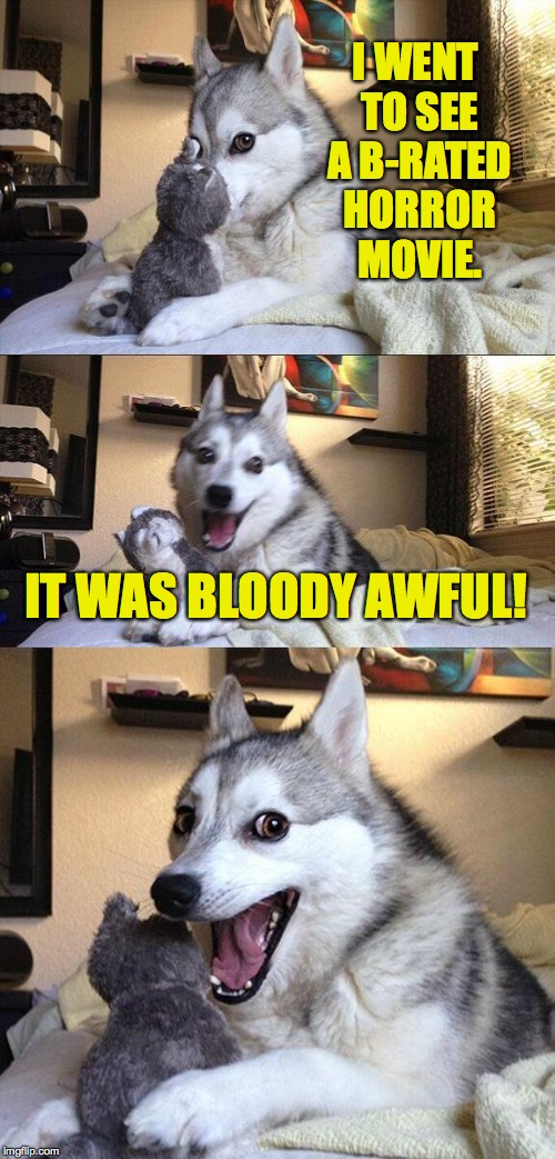 Bad Pun Dog Meme | I WENT TO SEE A B-RATED HORROR MOVIE. IT WAS BLOODY AWFUL! | image tagged in memes,bad pun dog | made w/ Imgflip meme maker