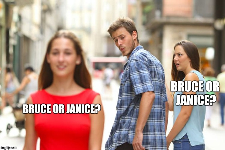 Distracted Boyfriend Meme | BRUCE OR JANICE? BRUCE OR JANICE? | image tagged in memes,distracted boyfriend | made w/ Imgflip meme maker