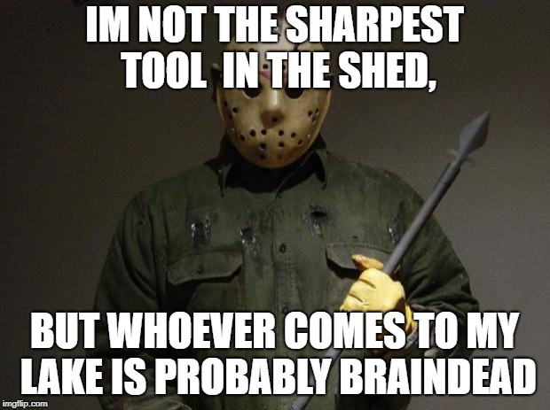 Jason Voorhees | IM NOT THE SHARPEST TOOL  IN THE SHED, BUT WHOEVER COMES TO MY LAKE IS PROBABLY BRAINDEAD | image tagged in jason voorhees | made w/ Imgflip meme maker