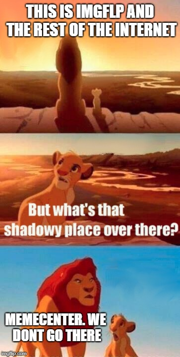 Simba Shadowy Place Meme | THIS IS IMGFLP AND THE REST OF THE INTERNET MEMECENTER. WE DONT GO THERE | image tagged in memes,simba shadowy place | made w/ Imgflip meme maker