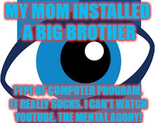 If You Are a Parent, Do Not Install Covanent Eyes. It Is The Most Cruel and Unusual Punishment One Could Inflict On Their Kids. | MY MOM INSTALLED A BIG BROTHER TYPE OF COMPUTER PROGRAM. IT REALLY SUCKS. I CAN'T WATCH YOUTUBE. THE MENTAL AGONY! | image tagged in big brother,sucks,don't add,pls | made w/ Imgflip meme maker