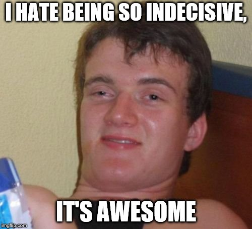 10 Guy Meme | I HATE BEING SO INDECISIVE, IT'S AWESOME | image tagged in memes,10 guy | made w/ Imgflip meme maker