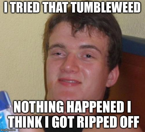 10 Guy Meme | I TRIED THAT TUMBLEWEED NOTHING HAPPENED I THINK I GOT RIPPED OFF | image tagged in memes,10 guy | made w/ Imgflip meme maker
