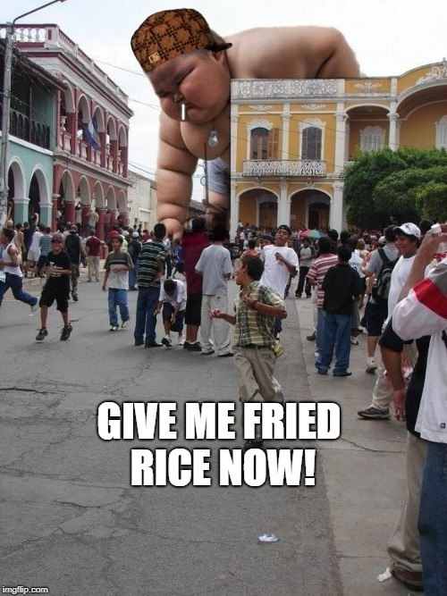 Fat kid strikes again! | GIVE ME FRIED RICE NOW! | image tagged in fat kid strikes again,scumbag | made w/ Imgflip meme maker