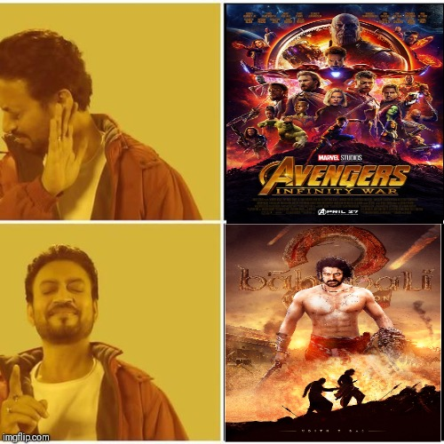 Infinity war vs bahubali  | image tagged in irrfan khan,dank memes,infinity war | made w/ Imgflip meme maker