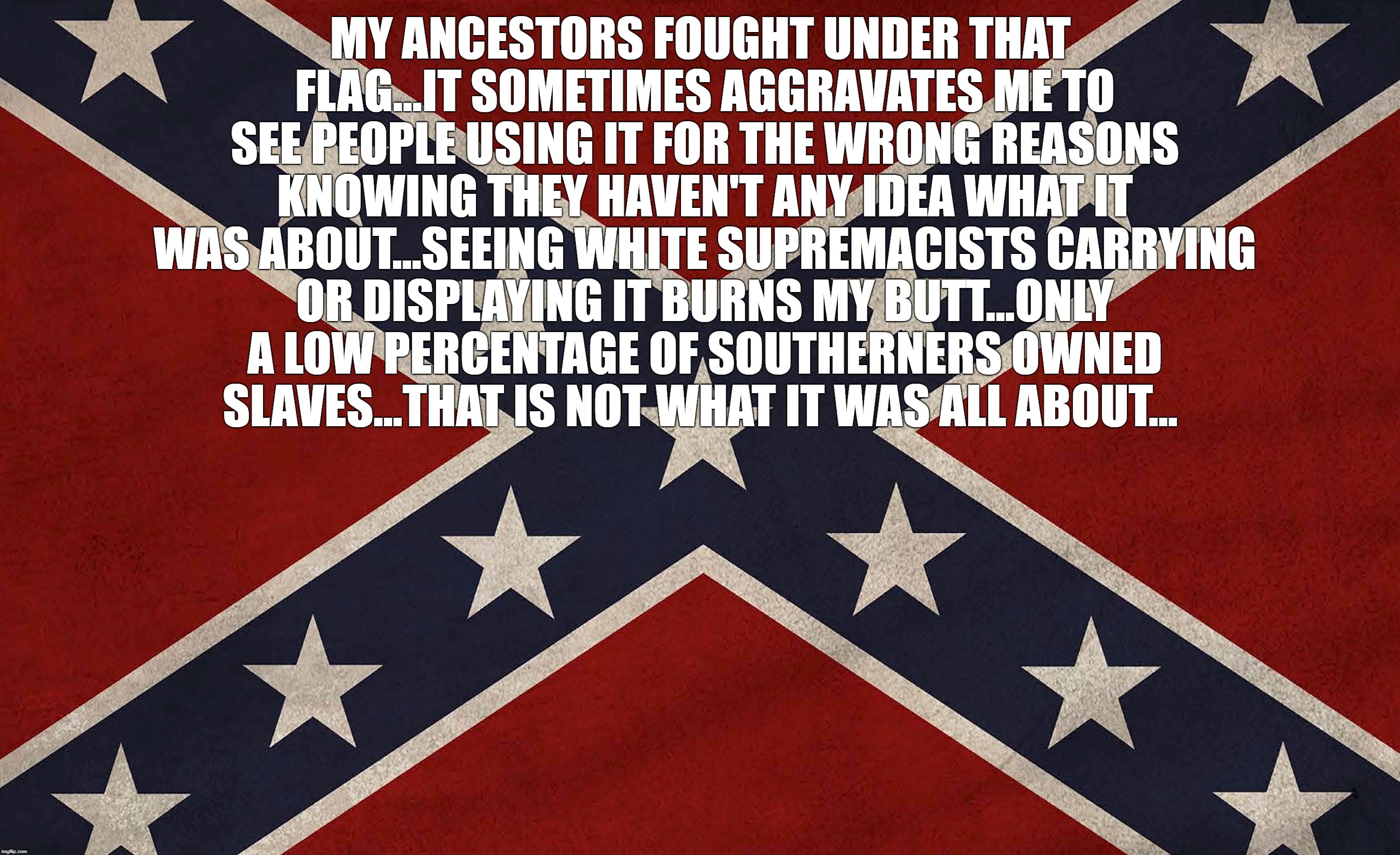 MY ANCESTORS FOUGHT UNDER THAT FLAG...IT SOMETIMES AGGRAVATES ME TO SEE PEOPLE USING IT FOR THE WRONG REASONS KNOWING THEY HAVEN'T ANY IDEA  | image tagged in confederacy | made w/ Imgflip meme maker