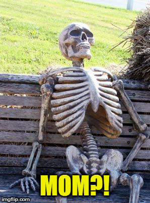 Waiting Skeleton Meme | MOM?! | image tagged in memes,waiting skeleton | made w/ Imgflip meme maker