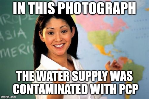 Teacher | IN THIS PHOTOGRAPH THE WATER SUPPLY WAS CONTAMINATED WITH PCP | image tagged in teacher | made w/ Imgflip meme maker