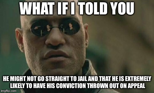 Matrix Morpheus Meme | WHAT IF I TOLD YOU HE MIGHT NOT GO STRAIGHT TO JAIL AND THAT HE IS EXTREMELY LIKELY TO HAVE HIS CONVICTION THROWN OUT ON APPEAL | image tagged in memes,matrix morpheus | made w/ Imgflip meme maker