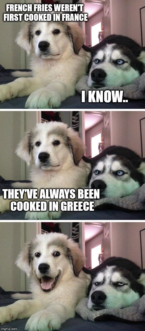 Yet another pun... | FRENCH FRIES WEREN'T FIRST COOKED IN FRANCE I KNOW.. THEY'VE ALWAYS BEEN COOKED IN GREECE | image tagged in funny,funny memes,bad pun dogs,puns,bad pun | made w/ Imgflip meme maker
