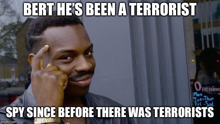 Roll Safe Think About It Meme | BERT HE'S BEEN A TERRORIST SPY SINCE BEFORE THERE WAS TERRORISTS | image tagged in memes,roll safe think about it | made w/ Imgflip meme maker