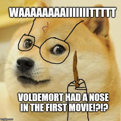 Doge Meme | WAAAAAAAAIIIIIIITTTTT VOLDEMORT HAD A NOSE IN THE FIRST MOVIE!?!? | image tagged in memes,doge | made w/ Imgflip meme maker