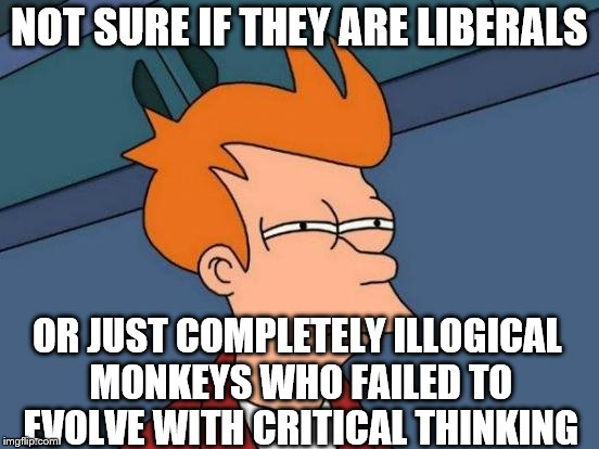Futurama Fry Meme | NOT SURE IF THEY ARE LIBERALS OR JUST COMPLETELY ILLOGICAL MONKEYS WHO FAILED TO EVOLVE WITH CRITICAL THINKING | image tagged in memes,futurama fry | made w/ Imgflip meme maker
