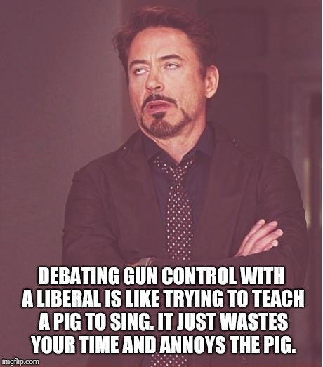Face You Make Robert Downey Jr Meme | DEBATING GUN CONTROL WITH A LIBERAL IS LIKE TRYING TO TEACH A PIG TO SING. IT JUST WASTES YOUR TIME AND ANNOYS THE PIG. | image tagged in memes,face you make robert downey jr | made w/ Imgflip meme maker