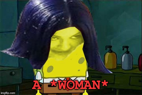 Spongemima | A *WOMAN* | image tagged in spongemima | made w/ Imgflip meme maker