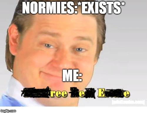 It's Free Real Estate | NORMIES:*EXISTS* ME: | image tagged in it's free real estate | made w/ Imgflip meme maker