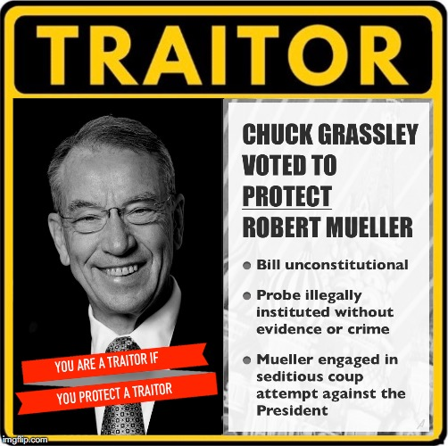 Traitor Chuck Grassley Voted to Protect Mueller with Unconstitutional Legislation - Vote Him Out | image tagged in mueller time,rino,chuck grassley,robert mueller,traitor | made w/ Imgflip meme maker