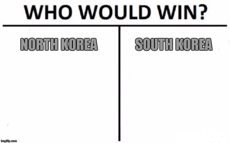 in memory of the people who die for no reason | NORTH KOREA SOUTH KOREA | image tagged in memes,who would win | made w/ Imgflip meme maker