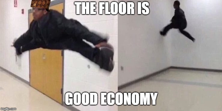 The Floor is Lava | THE FLOOR IS GOOD ECONOMY | image tagged in the floor is lava,scumbag | made w/ Imgflip meme maker