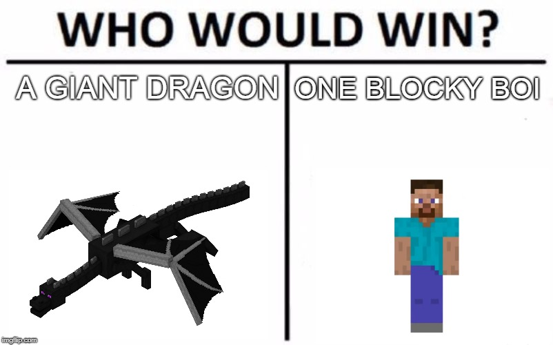 Who Would Win? Meme | A GIANT DRAGON ONE BLOCKY BOI | image tagged in memes,who would win | made w/ Imgflip meme maker