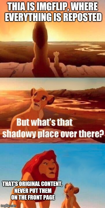 Simba Shadowy Place Meme | THIA IS IMGFLIP, WHERE EVERYTHING IS REPOSTED THAT'S ORIGINAL CONTENT, NEVER PUT THEM ON THE FRONT PAGE | image tagged in memes,simba shadowy place | made w/ Imgflip meme maker