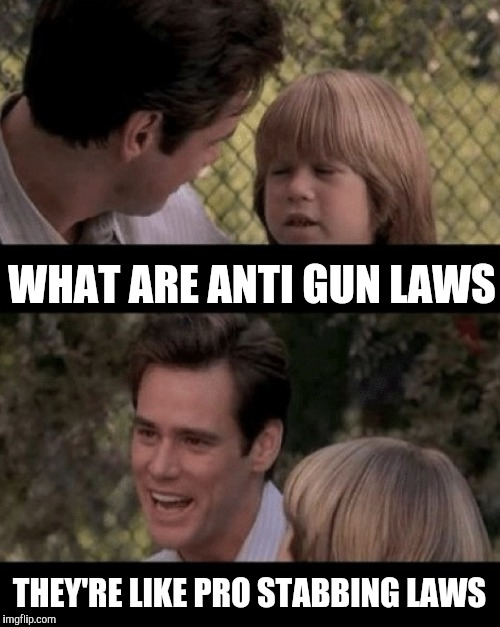WHAT ARE ANTI GUN LAWS THEY'RE LIKE PRO STABBING LAWS | made w/ Imgflip meme maker