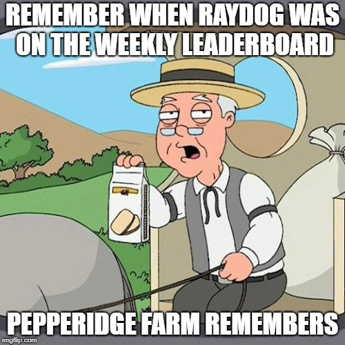 Pepperidge Farm Remembers Meme | REMEMBER WHEN RAYDOG WAS ON THE WEEKLY LEADERBOARD PEPPERIDGE FARM REMEMBERS | image tagged in memes,pepperidge farm remembers,ssby,funny | made w/ Imgflip meme maker