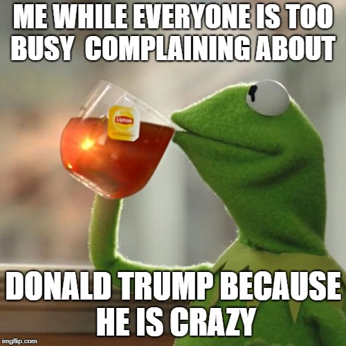 But Thats None Of My Business Meme | ME WHILE EVERYONE IS TOO BUSY  COMPLAINING ABOUT DONALD TRUMP BECAUSE HE IS CRAZY | image tagged in memes,but thats none of my business,kermit the frog | made w/ Imgflip meme maker