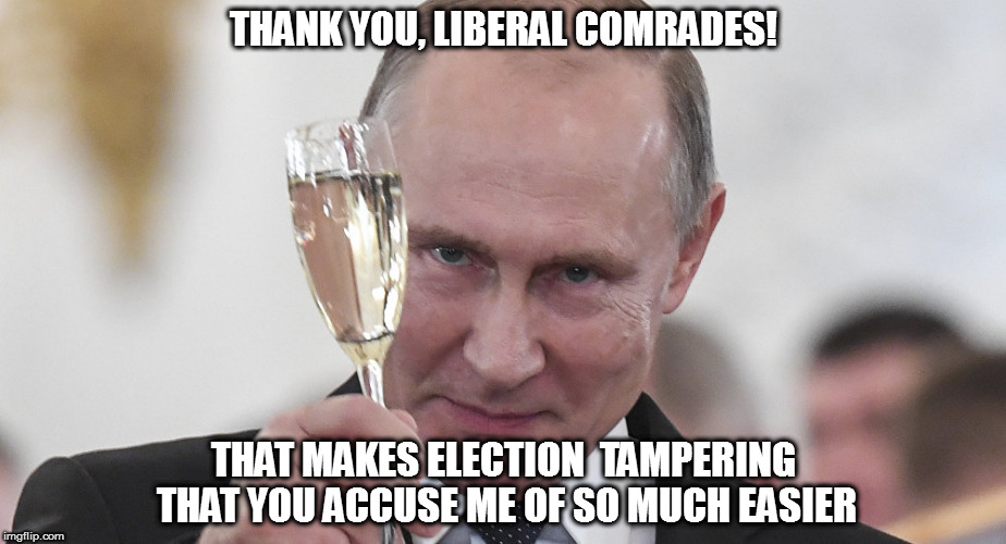 THANK YOU, LIBERAL COMRADES! THAT MAKES ELECTION  TAMPERING THAT YOU ACCUSE ME OF SO MUCH EASIER | made w/ Imgflip meme maker