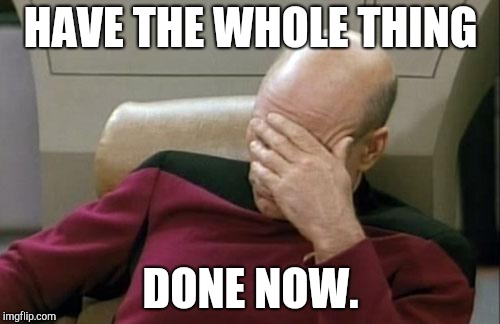 Captain Picard Facepalm Meme | HAVE THE WHOLE THING DONE NOW. | image tagged in memes,captain picard facepalm | made w/ Imgflip meme maker