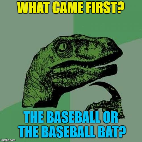 Philosoraptor Meme | WHAT CAME FIRST? THE BASEBALL OR THE BASEBALL BAT? | image tagged in memes,philosoraptor | made w/ Imgflip meme maker