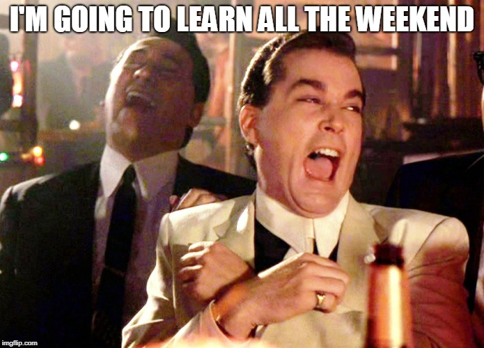 Well I just started so | I'M GOING TO LEARN ALL THE WEEKEND | image tagged in memes,good fellas hilarious | made w/ Imgflip meme maker