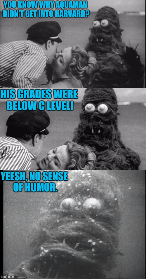 Oh. Fwankie | YOU KNOW WHY AQUAMAN DIDN'T GET INTO HARVARD? HIS GRADES WERE BELOW C LEVEL! YEESH, NO SENSE OF HUMOR. | image tagged in bad pun sea monster fwankie | made w/ Imgflip meme maker